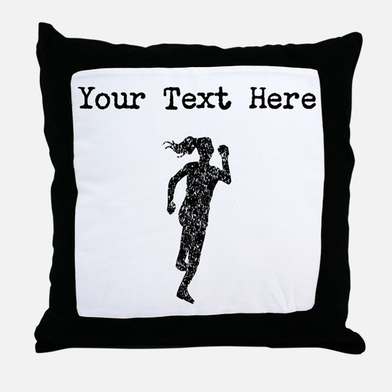 Distressed Runner Silhouette (Custom) Throw Pillow