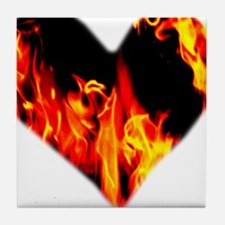 Red Yellow Orange Heart 'a Flame Tile Coaster