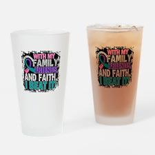 Thyroid Cancer Survivor FamilyFrien Drinking Glass