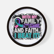 Thyroid Cancer Survivor FamilyFriendsFa Wall Clock