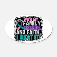Thyroid Cancer Survivor FamilyFrie Oval Car Magnet