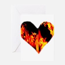 Red Yellow Orange Heart 'a Flame Greeting Cards