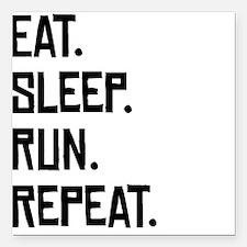 "Eat Sleep Run Repeat Square Car Magnet 3"" x 3"""
