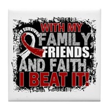 Throat Cancer Survivor FamilyFriendsF Tile Coaster