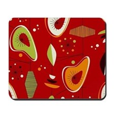 Mid Century Modern Red Print Mousepad