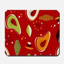 Mid Century Modern Red Print Mousepad