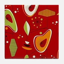 Mid Century Modern Red Print Tile Coaster