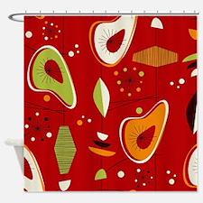 Mid Century Modern Red Print Shower Curtain