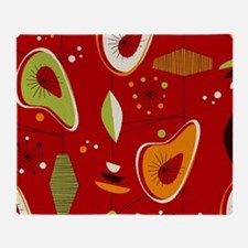 Mid Century Modern Red Print Throw Blanket