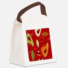 Mid Century Modern Red Print Canvas Lunch Bag