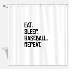 Eat Sleep Baseball Repeat Shower Curtain