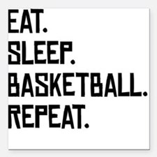 "Eat Sleep Basketball Repeat Square Car Magnet 3"" x"