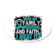 Ovarian Cancer Survivor FamilyFrie Oval Car Magnet