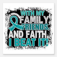 """Ovarian Cancer Survivor Square Car Magnet 3"""" x 3"""""""