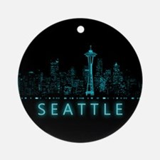 Digital Cityscape: Seattle, Washing Round Ornament