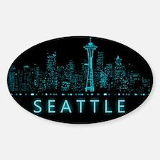 Digital Cityscape: Seattle, Washing Sticker (Oval)