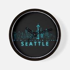 Digital Cityscape: Seattle, Washington Wall Clock