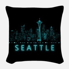 Digital Cityscape: Seattle, Wa Woven Throw Pillow