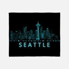 Digital Cityscape: Seattle, Washingt Throw Blanket