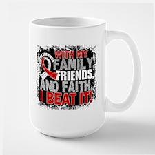 Oral Cancer Survivor FamilyFriendsFaith Large Mug
