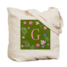 Letter G Whimsical Watercolor Flowers Tote Bag