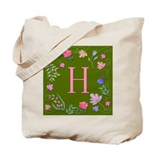Letter H Whimsical Watercolor Flowers Tote Bag