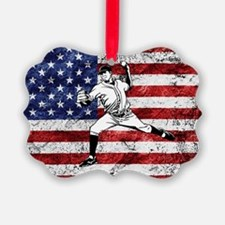 Baseball Player On American Flag Ornament