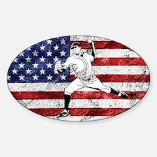 Baseball Player On American Flag Decal