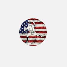 Baseball Player On American Flag Mini Button