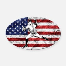 Baseball Player On American Flag Oval Car Magnet
