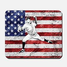 Baseball Player On American Flag Mousepad