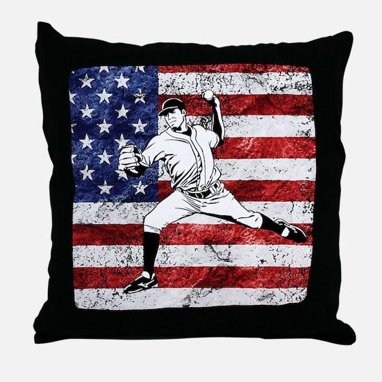 Baseball Player On American Flag Throw Pillow