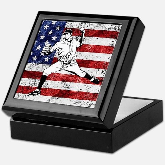 Baseball Player On American Flag Keepsake Box