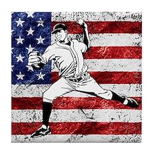 Baseball Player On American Flag Tile Coaster