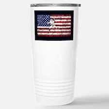 Baseball Player On American Flag Travel Mug