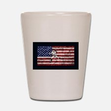Baseball Player On American Flag Shot Glass