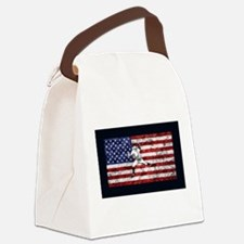 Baseball Player On American Flag Canvas Lunch Bag