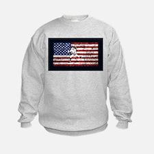 Baseball Player On American Flag Sweatshirt
