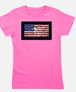 Baseball Player On American Flag Girl's Tee