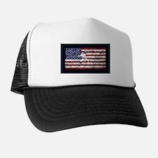 Baseball Player On American Flag Trucker Hat
