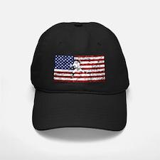 Baseball Player On American Flag Baseball Hat