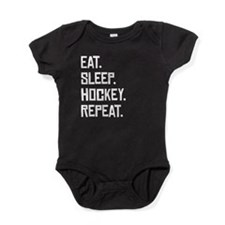 Eat Sleep Hockey Repeat Baby Bodysuit