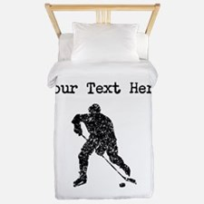 Distressed Hockey Player Silhouette (Custom) Twin