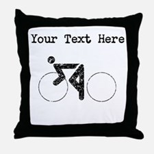 Distressed Cycling (Custom) Throw Pillow