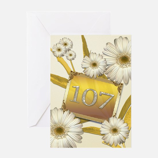 107th birthday card with lovely daisies Greeting C
