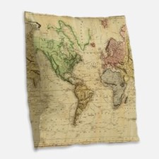 Vintage Map of The World (1831 Burlap Throw Pillow