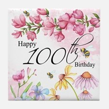 100th Birthday Watercolor Flower Tile Coaster