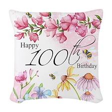 100th Birthday Watercolor Woven Throw Pillow