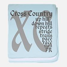 Cross Country XC grey gray baby blanket