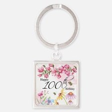 100th Birthday Watercolor Flower Square Keychains